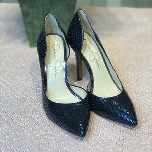 New Jessica Simpson snake print bluish  heels S7